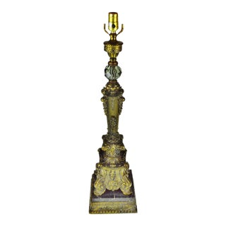 Vintage Hollywood Regency Table Lamp with Marble Base