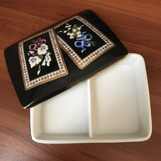 Ceramic Vintage Sybil Connolly Tiffany & Co Ceramic Floral Playing Card Holder Case For Sale - Image 7 of 11
