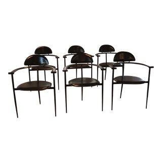1970s Modern Arrben Black Italian Leather Stiletto Dining Chairs - Set of 6 For Sale