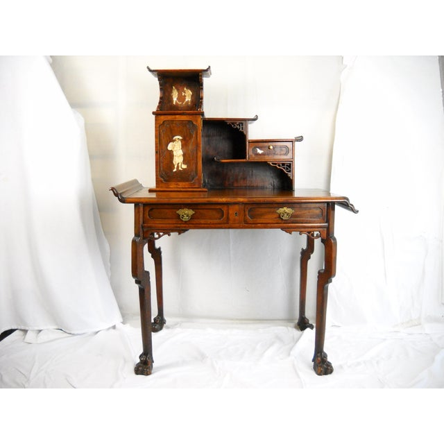 19th-C. French Japonisme desk of fine quality and excellent patina attributed to Gabriel Viardot. Japanese asymmetrical...