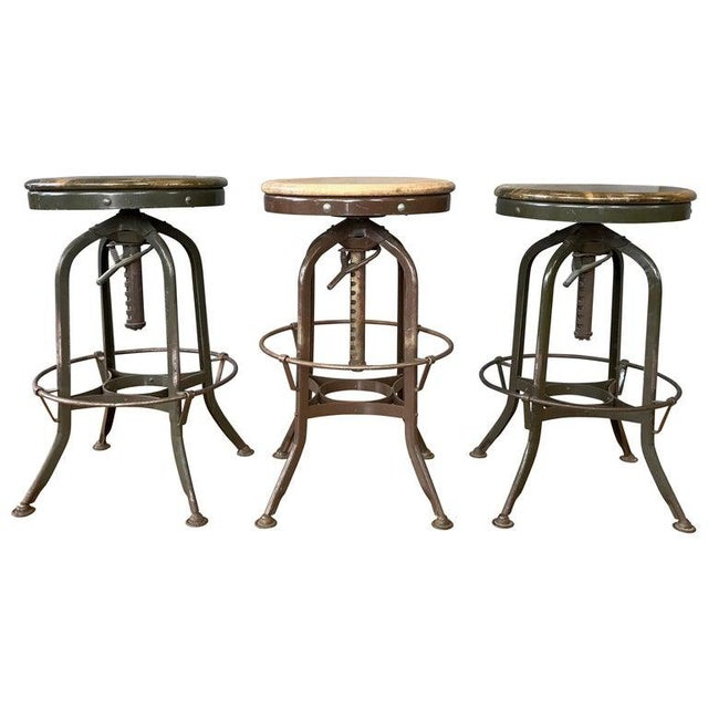 Toledo Industrial Adjustable Height Backless Swivel Stools, Three Available For Sale - Image 13 of 13