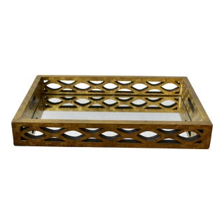 Mid Century Mirror Brass Cladded Geometric Rectangular Serving Tray Vintage For Sale