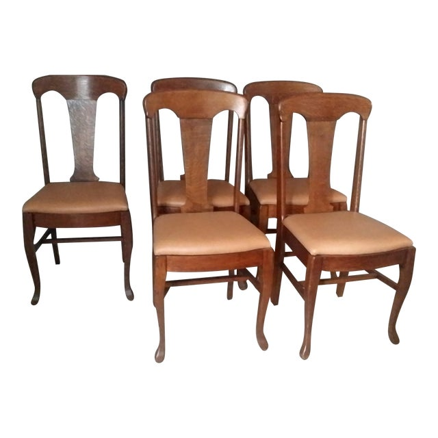Queen Anne Style Antique Oak Dining Chairs - S/5 - Image 1 of 5