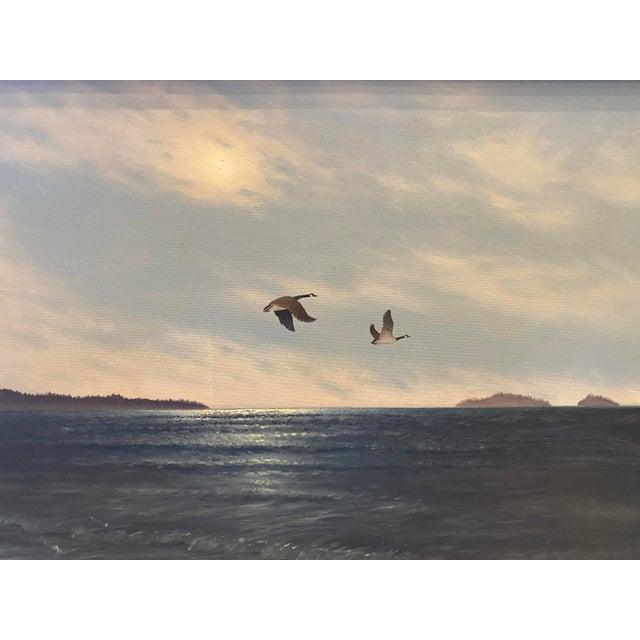 """Geese in Flight"" Vintage Oil Painting For Sale In Los Angeles - Image 6 of 11"