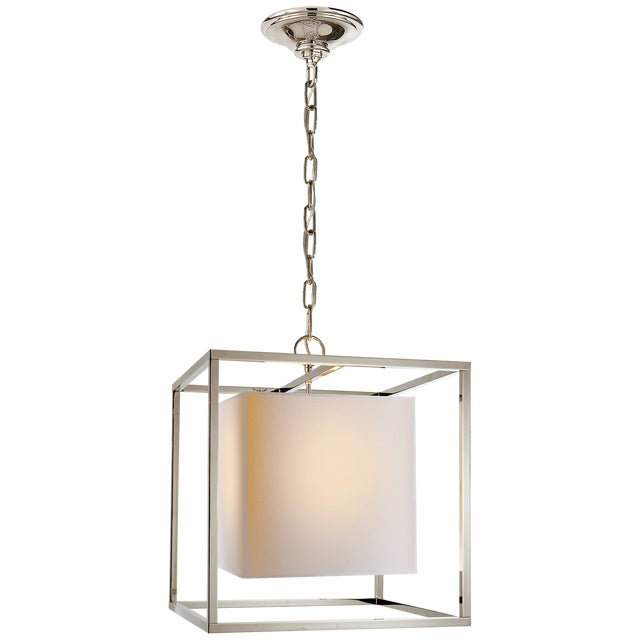Caged Small Lantern in Polished Nickel With Natural Paper Shade - Image 4 of 5