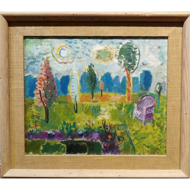 Abbott Pattison -The Purple Chair in a Garden Landscape - Oil painting Mid century Modern Expressionist oil painting on...