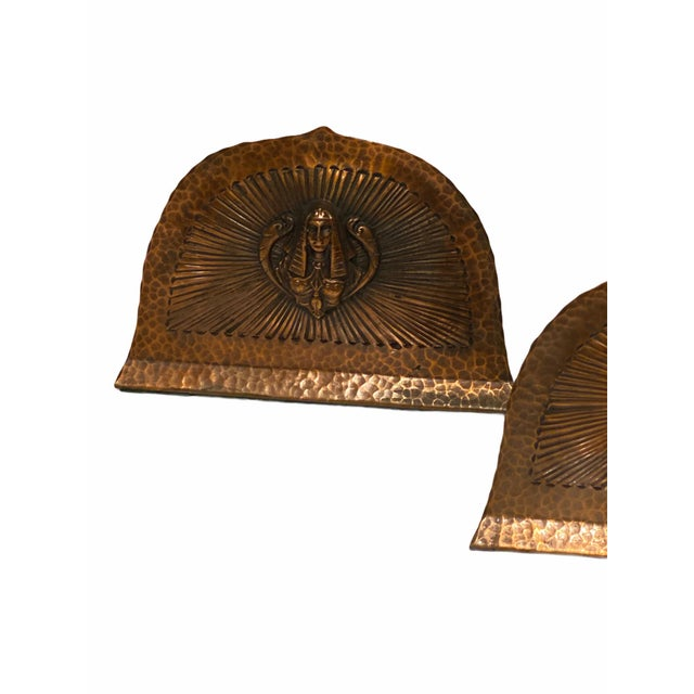 Art Deco Art Deco Egyptian Revival Hand Hammered Copper Bookends - a Pair For Sale - Image 3 of 11