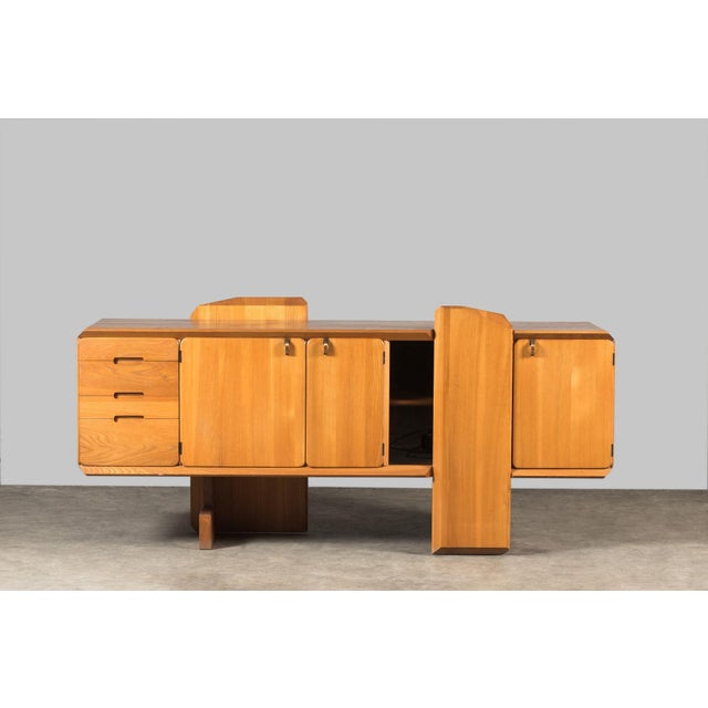 """Brass Pierre Chapo """"R28"""" Elm Sideboard For Sale - Image 7 of 7"""