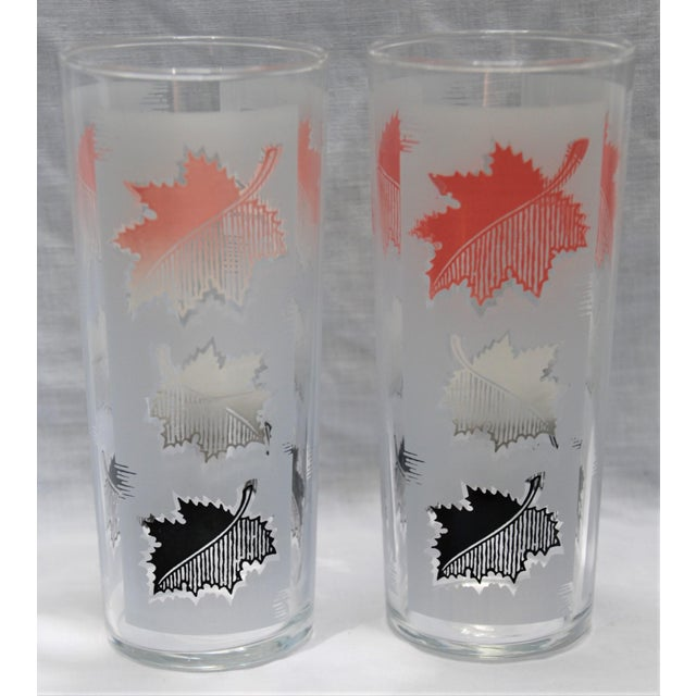 Libbey Glass Co. Libbey Mid-Century Modern Leaf Water Glasses - Set of 7 For Sale - Image 4 of 5