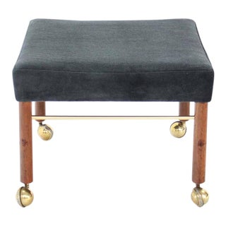 Square Newly Upholstered in Black or Charcoal Mohair Bench For Sale