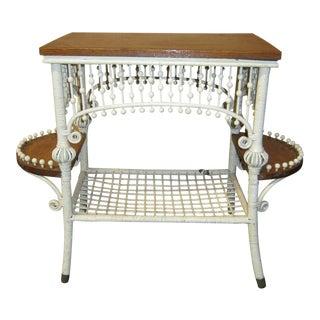 Circa 1900 Victorian Wicker & Wood Side Table
