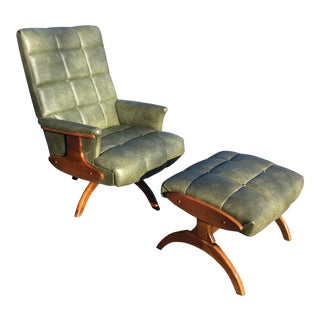 Vintage Mid Century Haywood Wakefield Style Chair and Ottoman For Sale