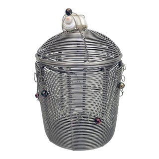 Woven Wire Pot With Lid For Sale