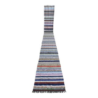 Vintage Handmade Ragrug Runner Rug Cotton Extra Long Runner Stair Tread- 2′6″ × 23′1″ For Sale