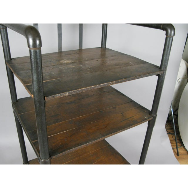 Metal Antique 1950s Industrial Cast Iron Rolling Cart Bookcase For Sale - Image 7 of 8