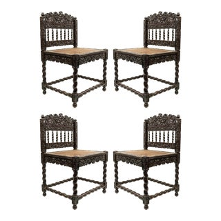 English Anglo Indian Rosewood Carved Side Chairs - Set of 4 For Sale
