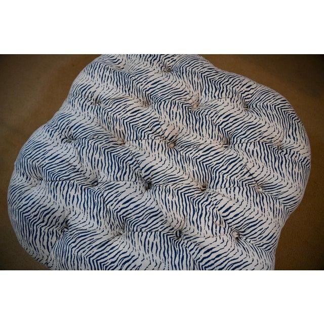 Kravet Upholstered Contemporary Tufted Oversized Round Ottoman Walnut Legs Animal Zebra Blue Cream Nailheads For Sale - Image 9 of 11