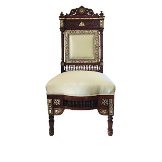 "19th C Middle Eastern /Moorish Chair W/Mother Pearl 41"" H For Sale"