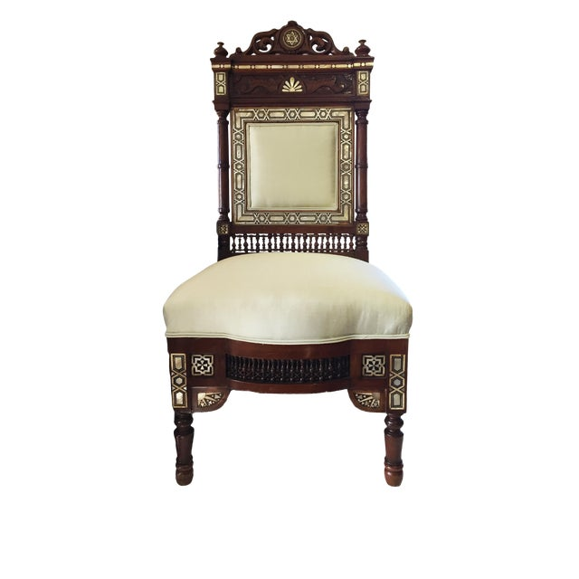 """19th C Middle Eastern /Moorish Chair W/Mother Pearl 41"""" H For Sale"""