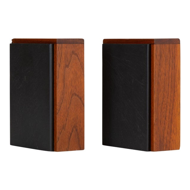 Pair of Scandinavian Modern Slate and Teak Bookends For Sale