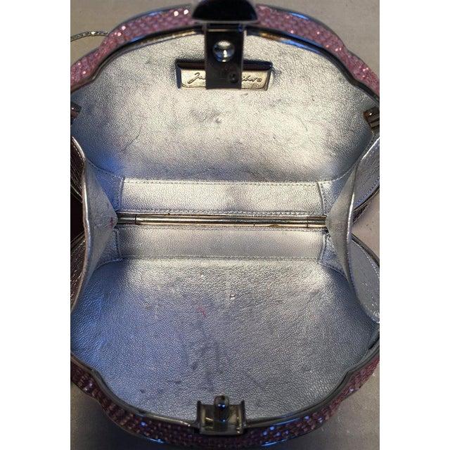 Metal Judith Leiber Pink Swarovski Crystal Minaudiere Evening Bag For Sale - Image 7 of 9