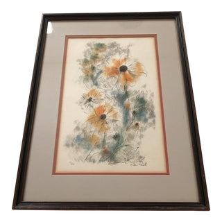 """Mid-Century Framed """"Black Eyed Susans"""" Limited Edition Lithograph For Sale"""