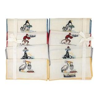 Vintage Cocktail Theme Linen Napkins - Set of 8 For Sale