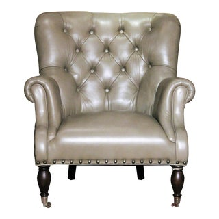 Vanguard Tufted Gray Leather Logan Chair