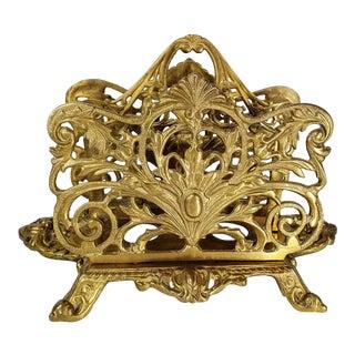 Bradley & Hubbard Antique Metal Brass Ornate Letter Holder For Sale