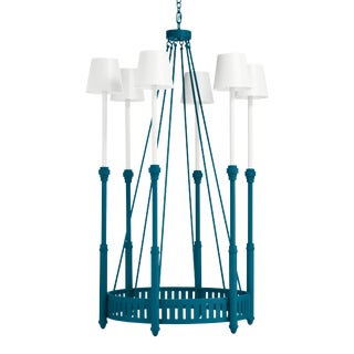 Camilla Chandelier, Blue Danube with White Shades For Sale
