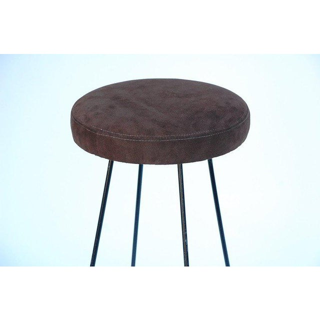 1950s Minimalistic Bar Stools With Brown Suede Seats - a Pair For Sale - Image 4 of 5