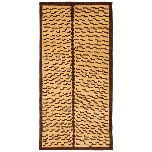 Textile Brown and Tan Wool Tiger Area Rug-3′ × 6′ For Sale - Image 7 of 7