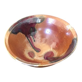 Mid-Century Hand-Thrown Ceramic Bowl, Signed by Artist For Sale