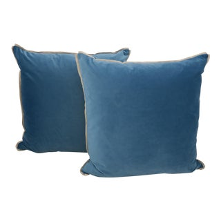 Blue Velvet Pillows - a Pair