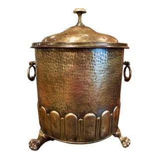 19th Century French Repousse Brass Basket or Cache Pot With Lid and Inside Liner For Sale