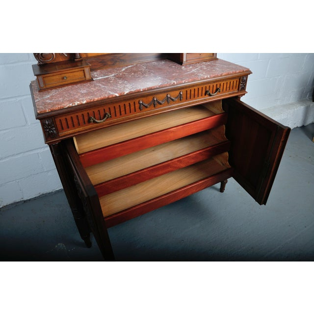 1900's French Walnut Vanity Dresser with Red Italian Marble Top For Sale - Image 10 of 13