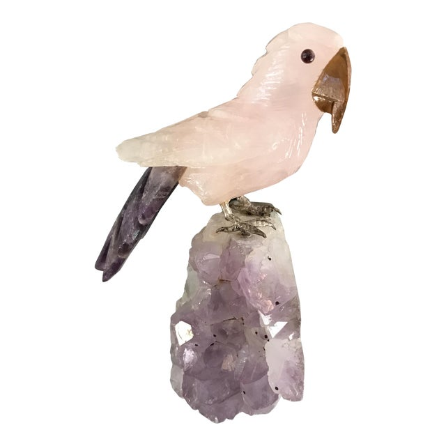 Handcarved Rose Quartz Bird on Amethyst Geode For Sale