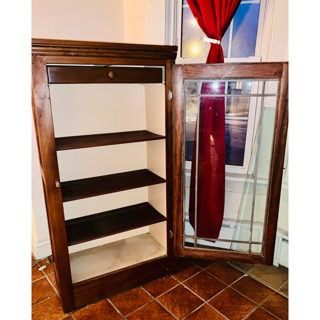American Mid 19th Century Display/China Cabinet With Shelving Drawer and Full Glass Door With Leaded Detail For Sale - Image 3 of 7