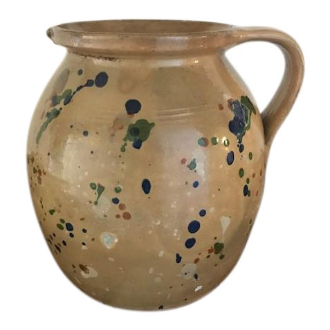Large Antique 1900 French Redware Jaspe Pitcher For Sale