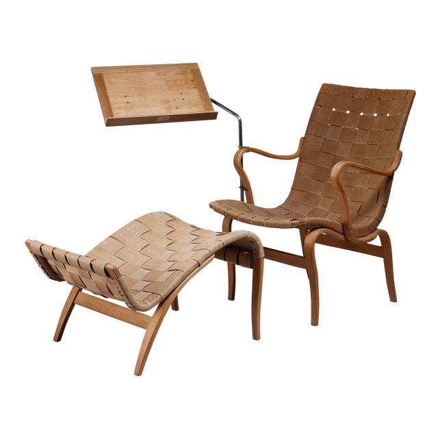 Bruno Mathsson reading chair Eva with ottoman, Sweden, 1940s For Sale