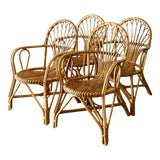 Image of Vintage Coastal Bamboo Dining Chairs After Albini - Set of 4 For Sale