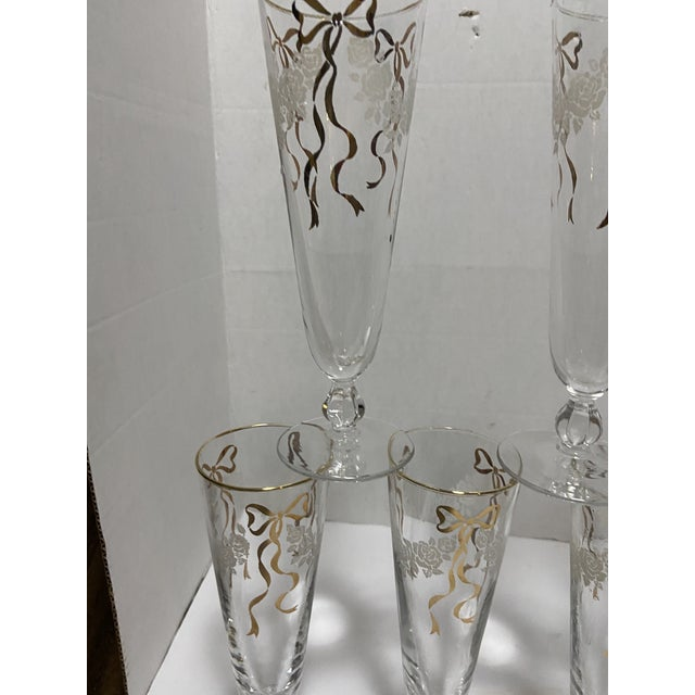 Vintage Bow Wedding Champagne Flute Glasses - Set of 7 For Sale In Cleveland - Image 6 of 11