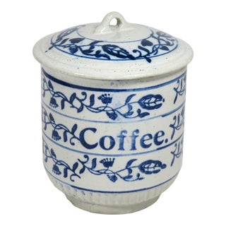 Antique American Stoneware Kitchen Coffee Jar For Sale