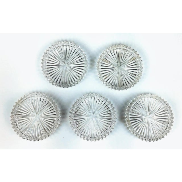 Mid-Century Modern Mid Century Cut Glass Drink Coasters - Set of 5 For Sale - Image 3 of 8