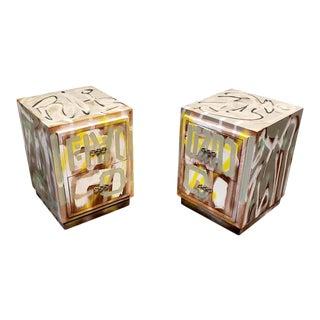 Pair of Postmodern Artist Painted Graffiti Art Nightstands For Sale