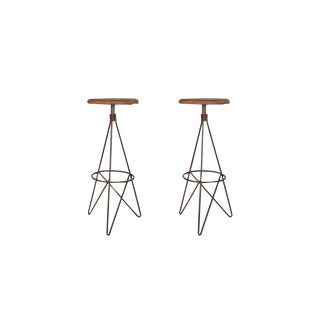 "Set of 2 Corvin Round Bar Stools With Wood Top for Living Room, Indoor, Outdoor, Iron Legs, Natural Color, 30.5"" H For Sale"