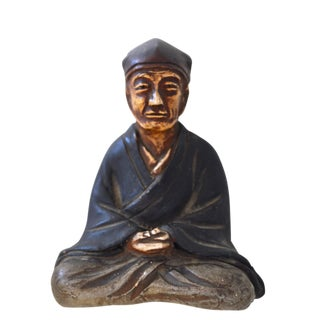Japanese Miniature Clay Sitting Figure Scholar in Contemplation Antique For Sale