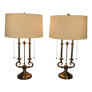 Brass Column Stiffel Lamps - A Pair For Sale