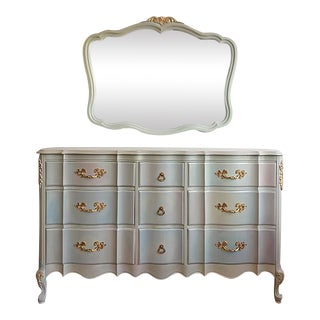 Vintage French-Style 9-Drawer Dresser & Mirror - A Pair