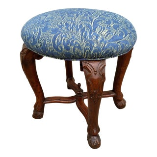 Italian Baroque Walnut Stool with Fortuny Upholstery For Sale